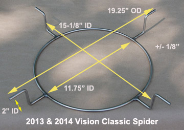 Spider specifications for kamado vision grills