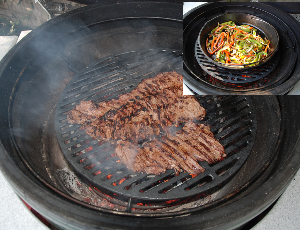 grilling fajitas on cast iron grid over lump reducing ring in xl big green egg