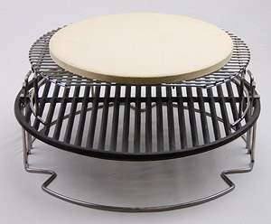 """pswoo-ci set-up with extender, cast iron grid and 13"""" stone for pizza in large big green egg"""