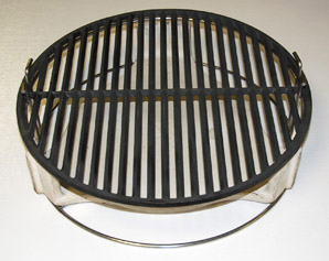 top view of pswoo-ci with platesetter and cast iron grid for large big green egg