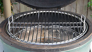"pswoo ring holding the 18"" stock grid in a large big green egg"