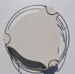 platesetter inverted to show how the platesetter legs rest on the three rings