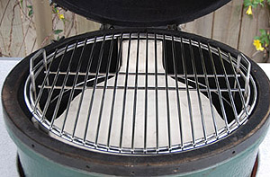 "pswoo set-up with the platesetter and 18"" stock grid in a large big green egg"