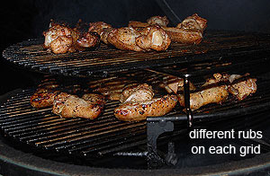 grilling different flavor wings with two oval grids and sliding grids.