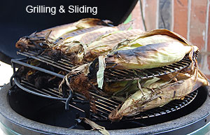 grilling corn with two oval grids, sliding grids in large big green egg.