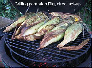 grilling corn direct atop rig in big green egg®