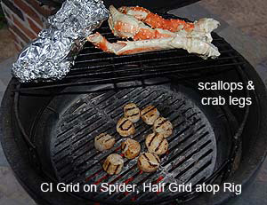 grilling seafood with one and one half grids with adjustable rig