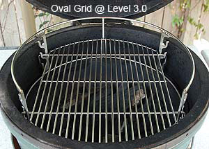 rig with oval grid middle setting inside large big green egg