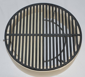 "15"" half stone on large spider under 18"" cast iron grid atop fire ring"