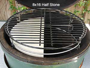 half stone under full grid atop rig inside the large big green egg