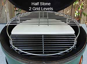 """half stone on 16.5"""" grid with half 18"""" grid atop rig in the large big green egg®"""