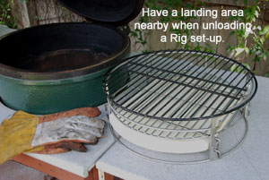 rig sitting next to the large big green egg® after lifting the rig out.