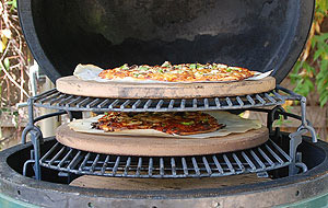 "grilling 2 pizzas on the rig using 3 13"" ceramic pizza stones"