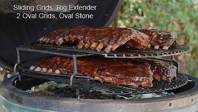 four racks of ribs on sliding grids with extender in large big green egg