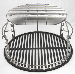 "Extender with D grid atop 18"" cast iron grid"
