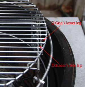 shows legs on D grid sliding by extender
