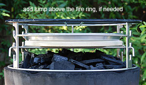 Rig set-up to allow extra lump in big green egg® fire ring.