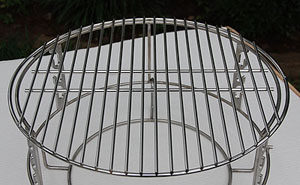 """adjustable rig with spider and ceramic grill store's 18"""" stainless grid on top for kamado style Vision Grills"""