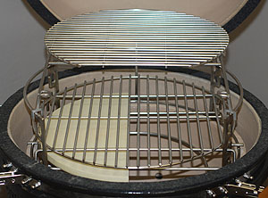 "15"" half stone set-up under 16.5"" grid with extender and D Grid inside kamado vision grill"