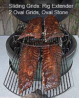 Sliding grids with four racks of babybacks in kamado style grill