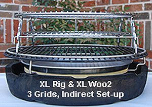 showing xl rig atop the xl woo ring with 3 grids set-up.