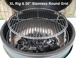 "xl rig sitting directly on the fire ring with the 20"" round grid for raised, direct, grilling cooks."