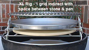 Side View drip pan elevated off stone xl adjustable rig in xl big green egg