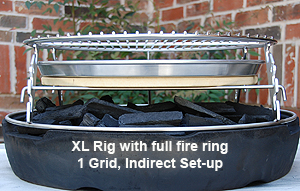 Raising the set up provides added room for lump in xl big green egg fire ring
