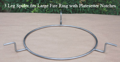 3 leg large spider fits notched large big green egg fire ring