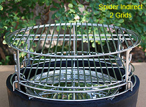 spider and rig set-up with two grids on big green egg fire ring