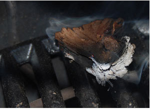 smoldering wood chunk on the cast iron grid on the spider
