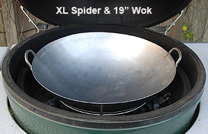 "19"" wok with xl spider inside the xl big green egg"