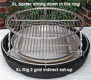 spider set-up indirect under the xl adjustable rig on the big green egg fire ring