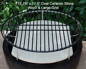 "setting up indirect for large big green egg with woo ring and 13""x17"" oval stone"