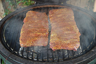 start rib cook on woo in large big green egg