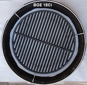 "xl woo with big green egg 18"" cast iron grid on woo's lower ring"