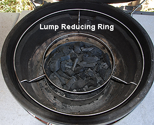 lump reducing ring with lump under the xl woo in an xl big green egg