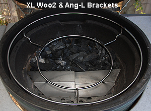 ang-l brackets holding back the lump with xl woo in an xl big green egg